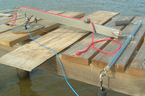 Kite control bar for kite powered boat like our kite-sailer KS32F under first land test side view